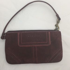Coach Garnet Suede Leather Wristlet